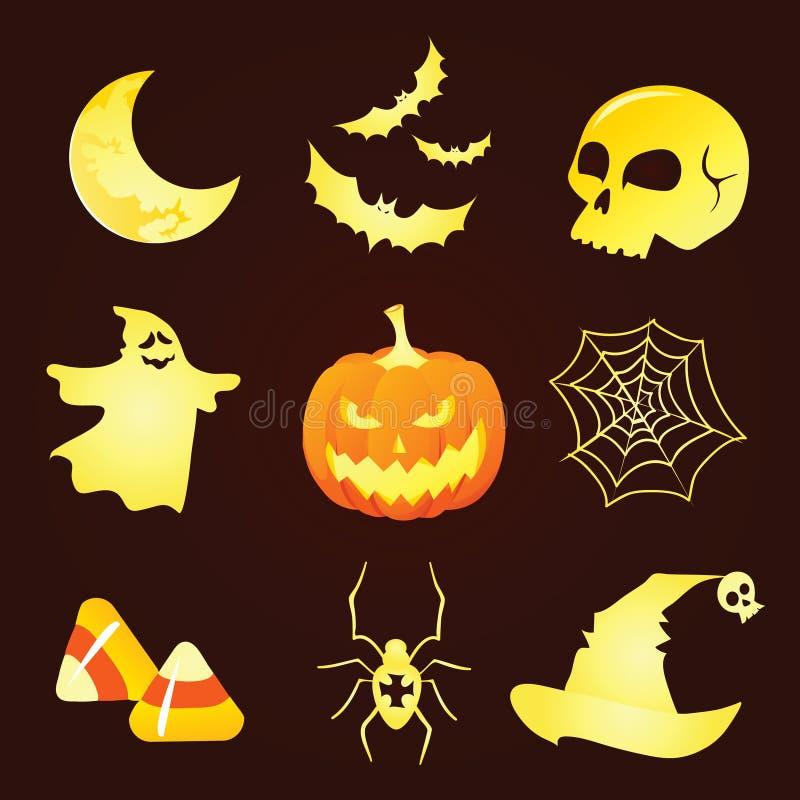 Iconos de Halloween de la silueta ilustración del vector