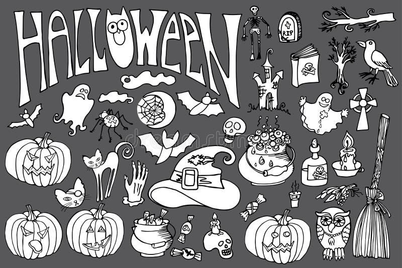 Iconos de Halloween fijados con el texto Garabatea incompleto stock de ilustración