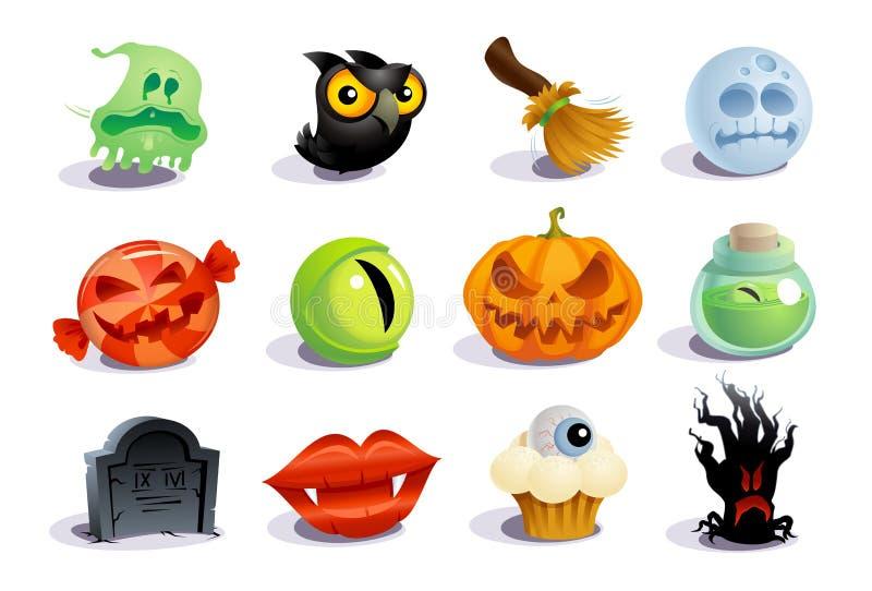 Iconos de Halloween y sistema de símbolos ilustración del vector