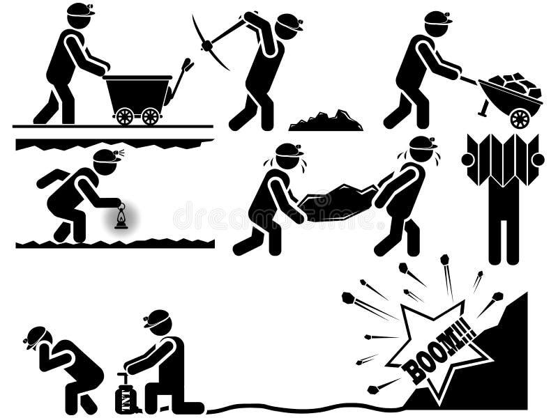 Iconos de hombres en minas negras del tema stock de ilustración