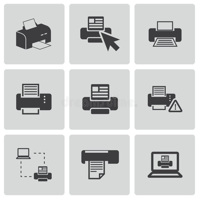 Iconos de impresora traseros del vector fijados libre illustration