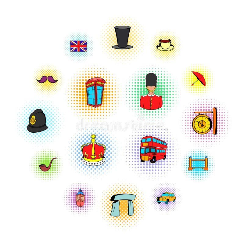 Iconos de Inglaterra en estilo de los tebeos libre illustration