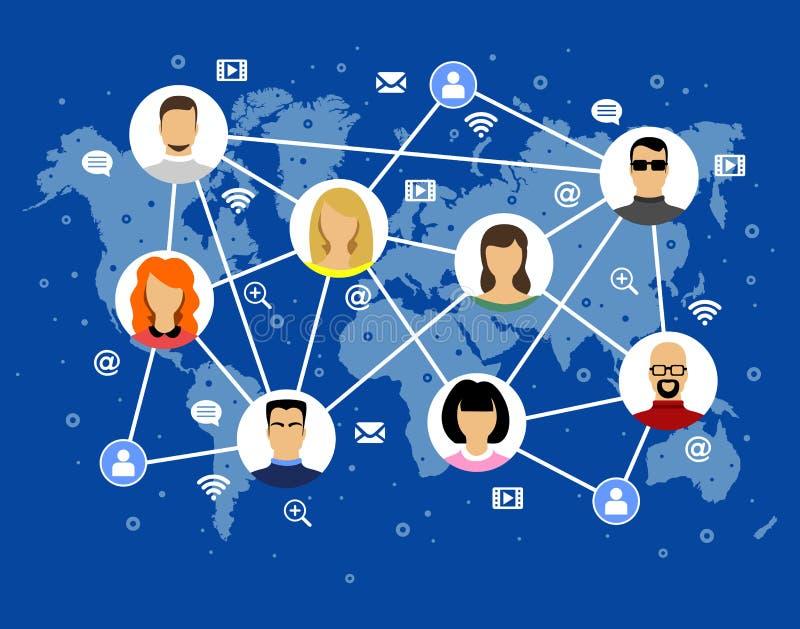 Iconos de Internet de los rostros humanos de la imagen del vector de Avatar en el mapa del mundo ilustración del vector