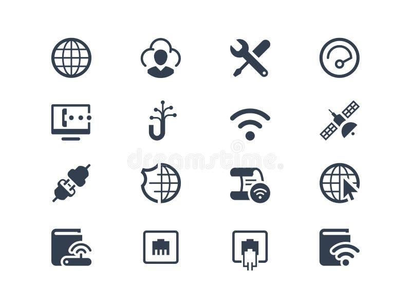 Iconos de Internet y del proveedor ilustración del vector