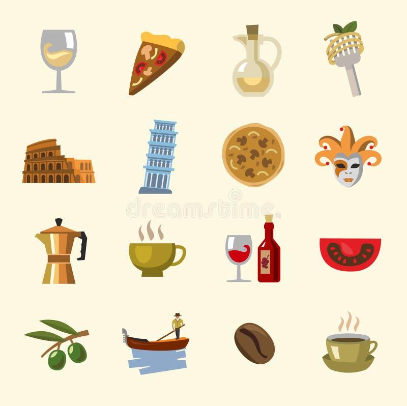 Iconos de Italia del vector fijados ilustración del vector
