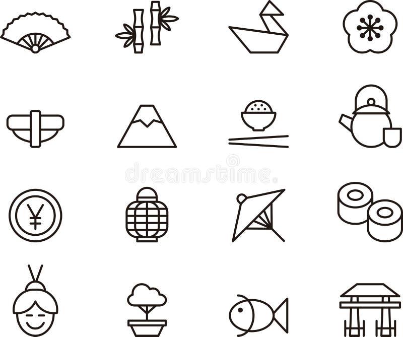 Iconos de Japón stock de ilustración