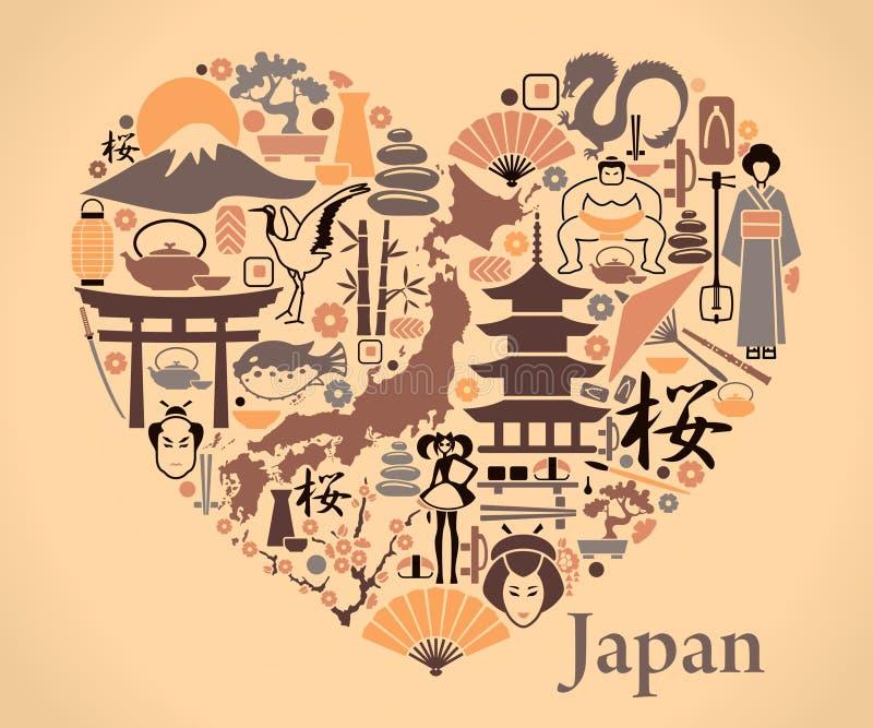 Iconos de Japón bajo la forma de corazón stock de ilustración