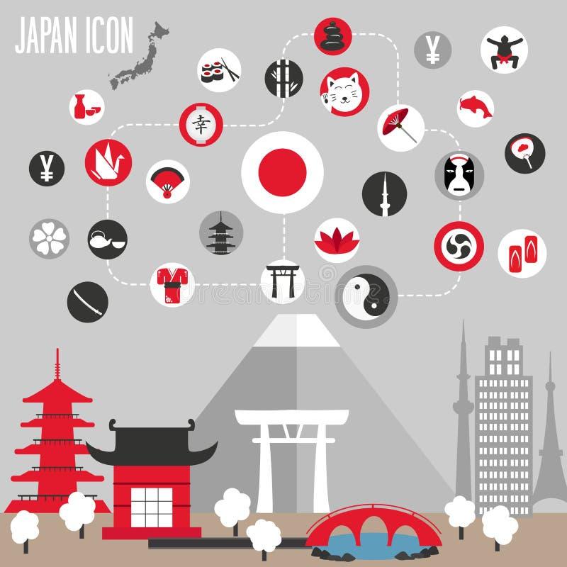 Iconos de Japón fijados ilustración del vector