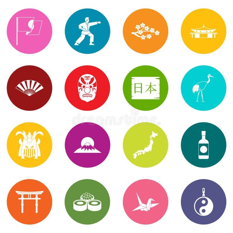 Iconos de Japón sistema de muchos colores libre illustration