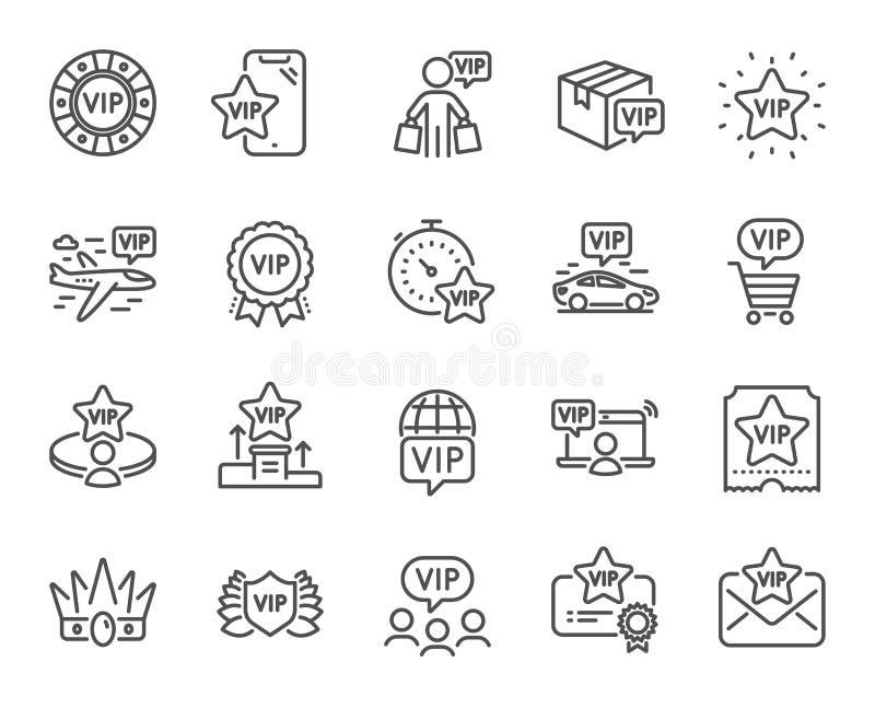 Iconos de línea Vip Casino chips, persona muy importante, paquete de entrega Certificado, tabla de jugador, comprador de vip Vect ilustración del vector