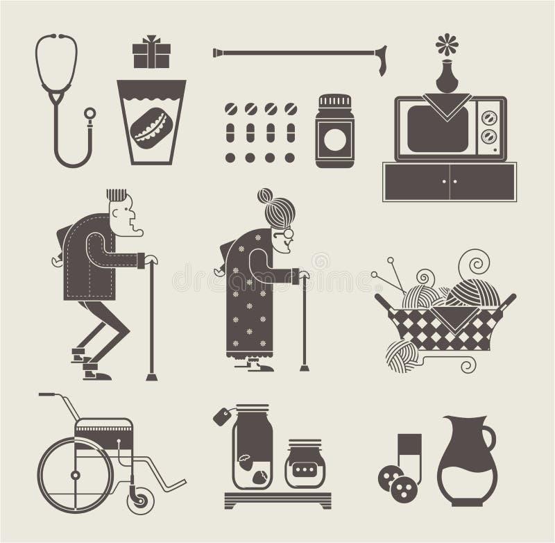 Iconos de la abuelita ilustración del vector