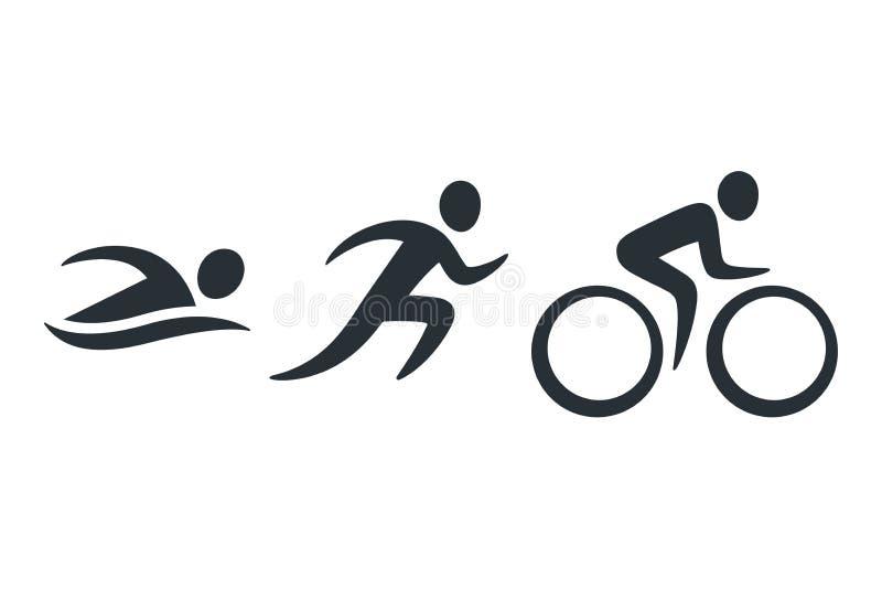 Iconos de la actividad del Triathlon ilustración del vector