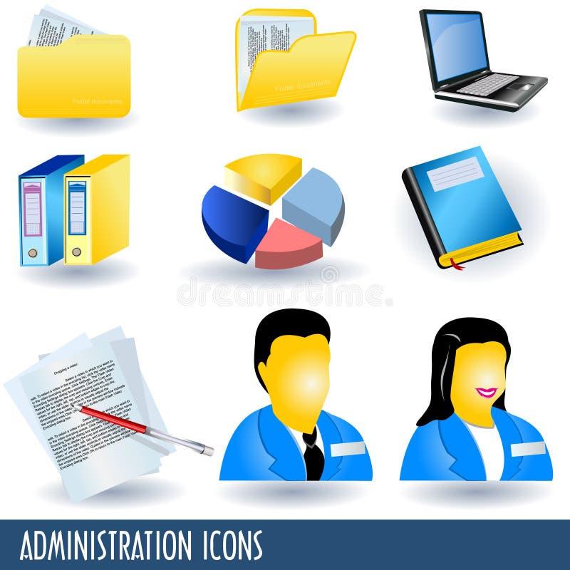 Iconos de la administración ilustración del vector