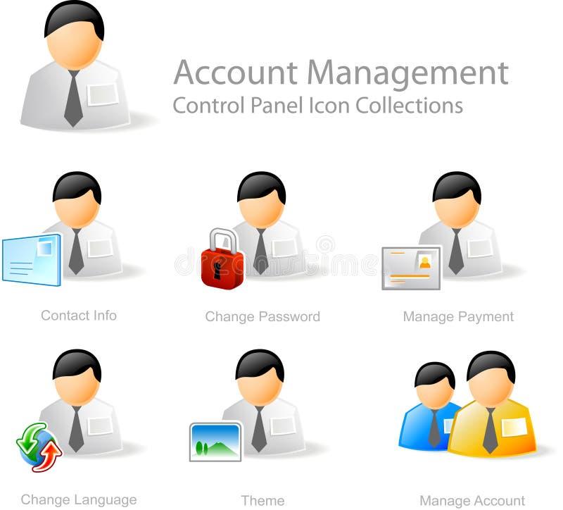 Iconos de la administración de cuentas ilustración del vector