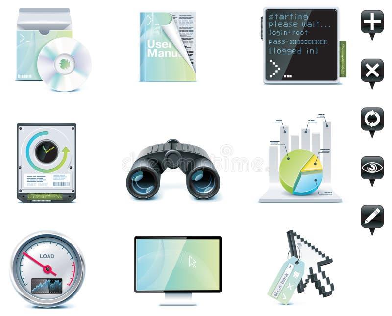Iconos de la administración de servidor. Parte 1 ilustración del vector
