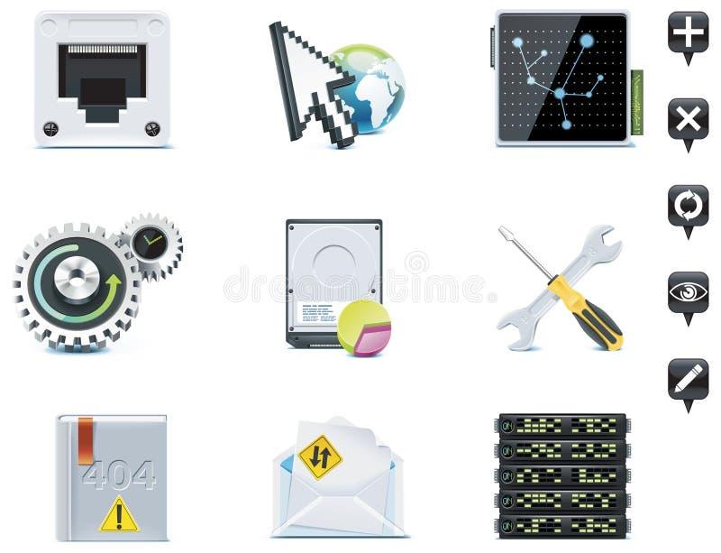 Iconos de la administración de servidor. Parte 3 stock de ilustración