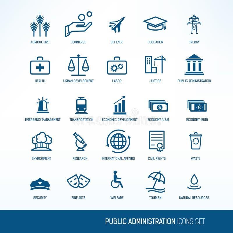 Iconos de la administración pública stock de ilustración