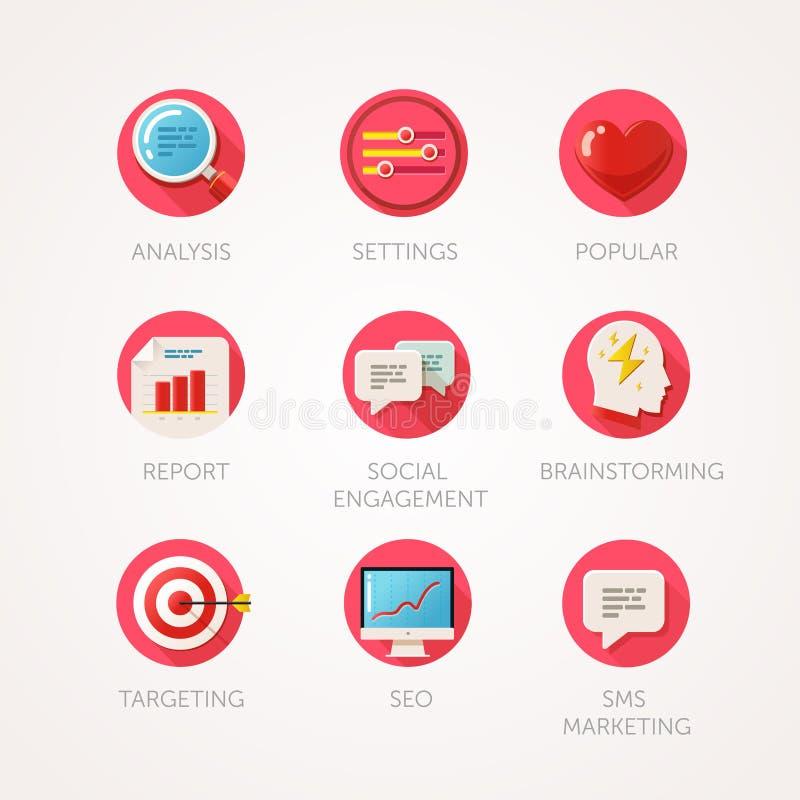 Iconos de la agencia del márketing fijados Ejemplos coloreados del plano moderno La industria del web los iconos relacionados los libre illustration