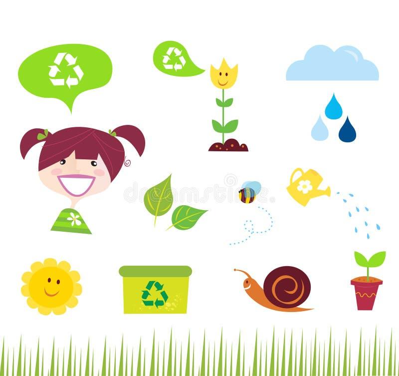 Iconos de la agricultura, del jardín y de la naturaleza libre illustration