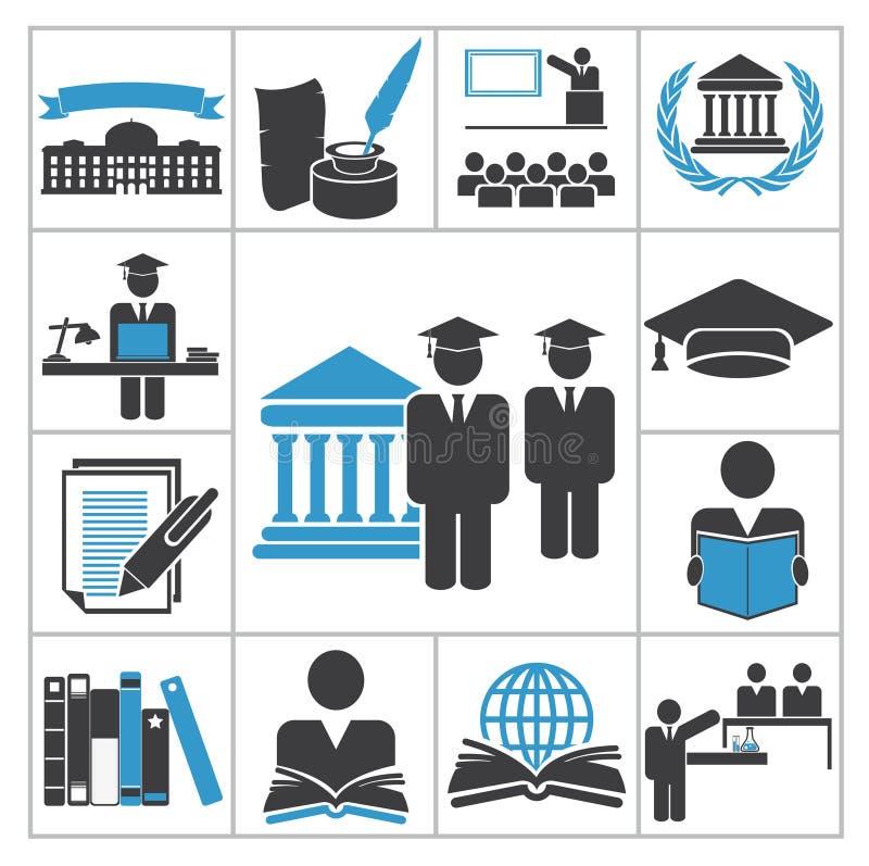 Iconos de la alta educación stock de ilustración