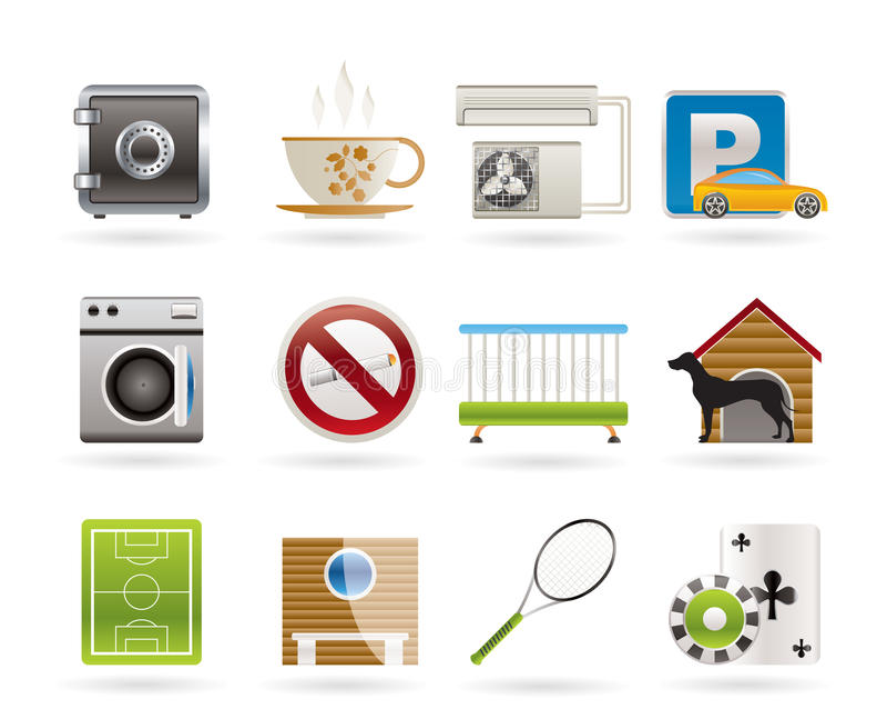 Iconos de la amenidad del hotel y del motel libre illustration