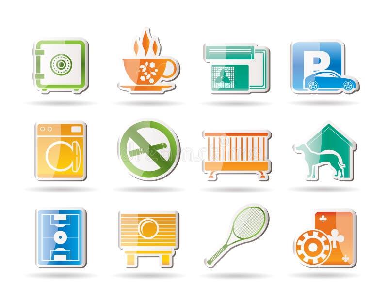 Iconos de la amenidad del hotel y del motel ilustración del vector