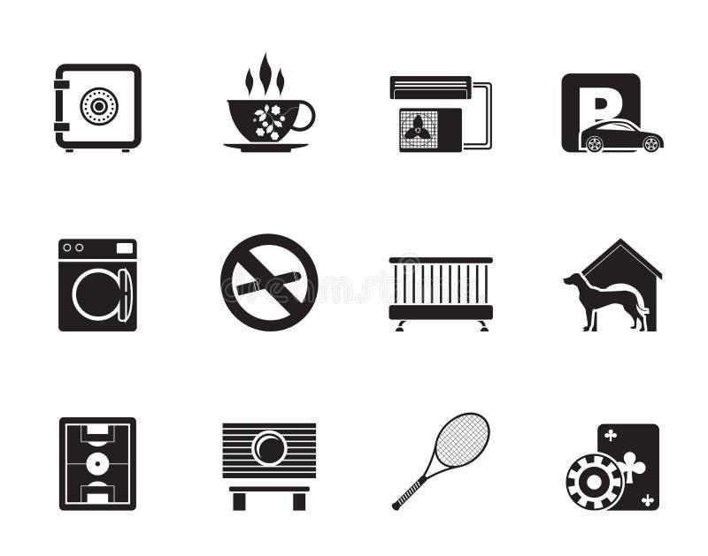Iconos de la amenidad del hotel y del motel de la silueta ilustración del vector