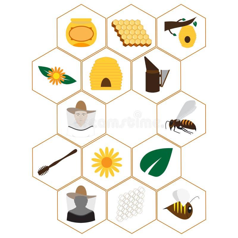 Iconos de la apicultura fijados ilustración del vector
