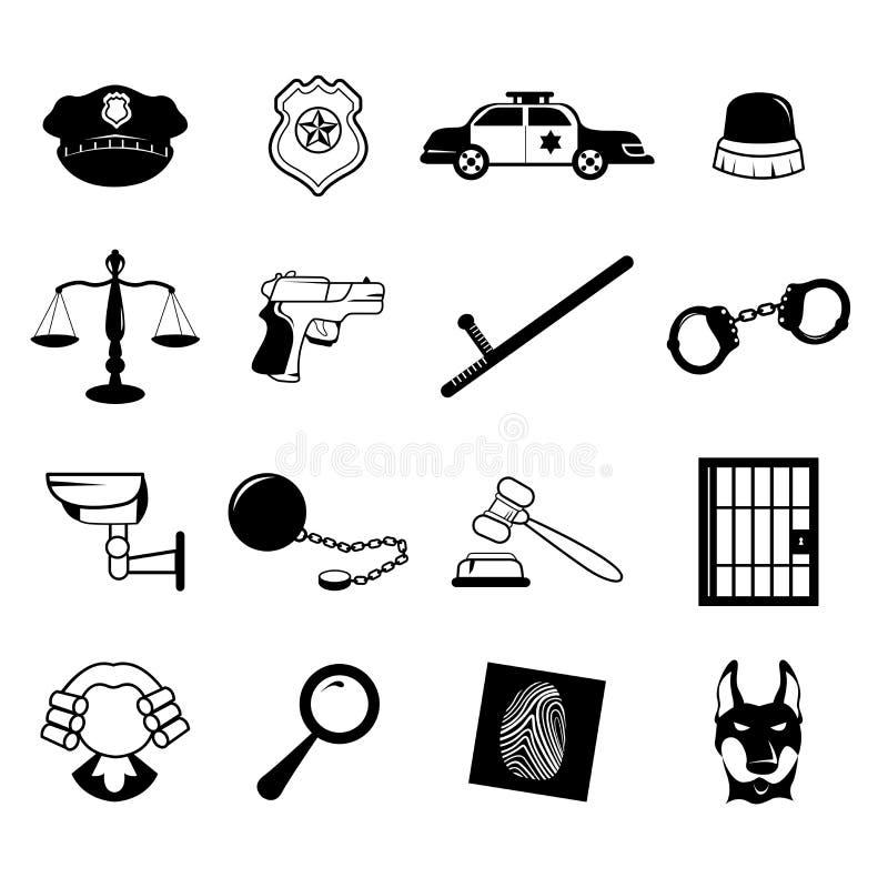 Iconos de la aplicación de ley ilustración del vector