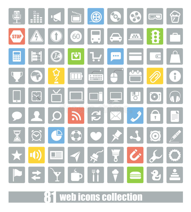 81 iconos de la aplicación web ilustración del vector