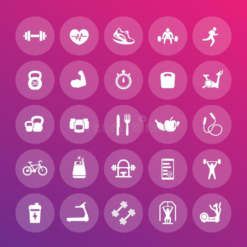 25 iconos de la aptitud embalan, gimnasio, entrenamiento, ejercicios stock de ilustración