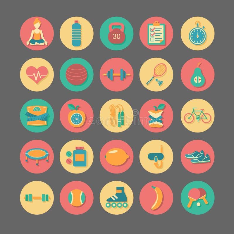 Iconos de la aptitud fijados libre illustration