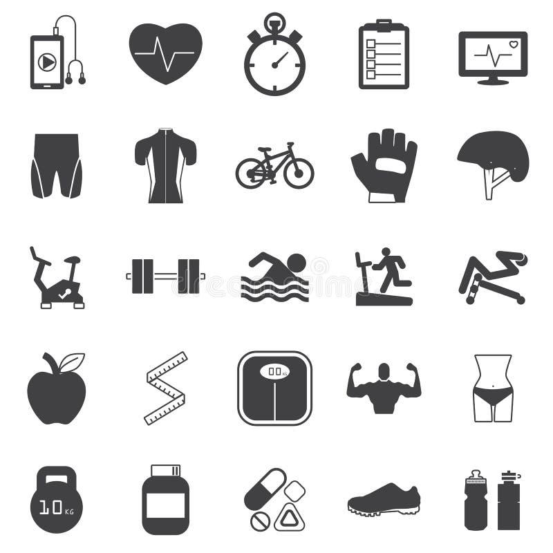Iconos de la aptitud fijados ilustración del vector