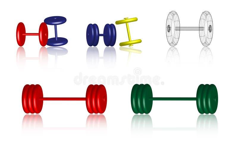 Iconos de la aptitud - pesas de gimnasia - vector stock de ilustración
