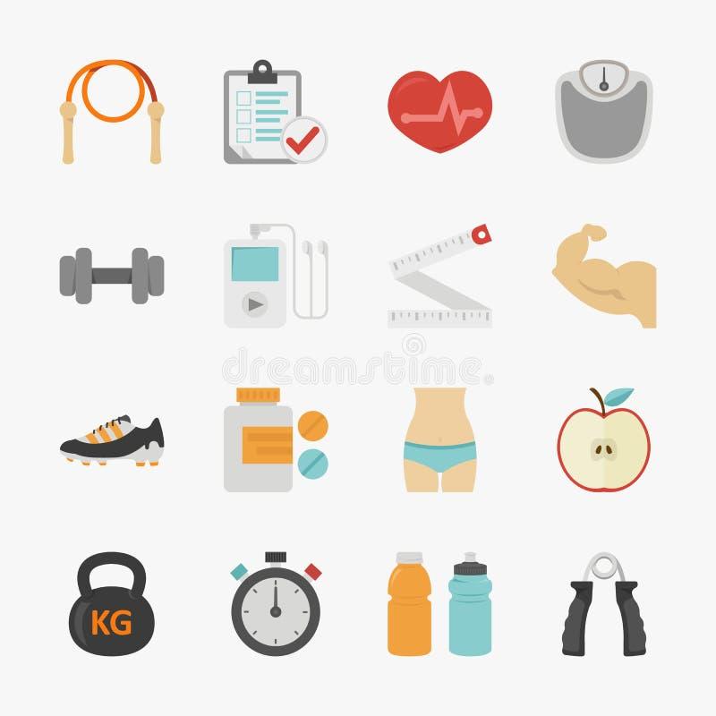 Iconos de la aptitud y de la salud con el fondo blanco stock de ilustración