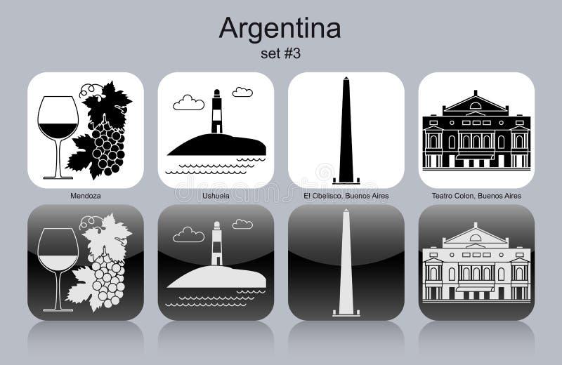 Iconos de la Argentina ilustración del vector