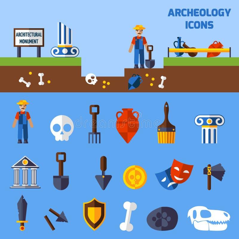 Iconos de la arqueología fijados ilustración del vector