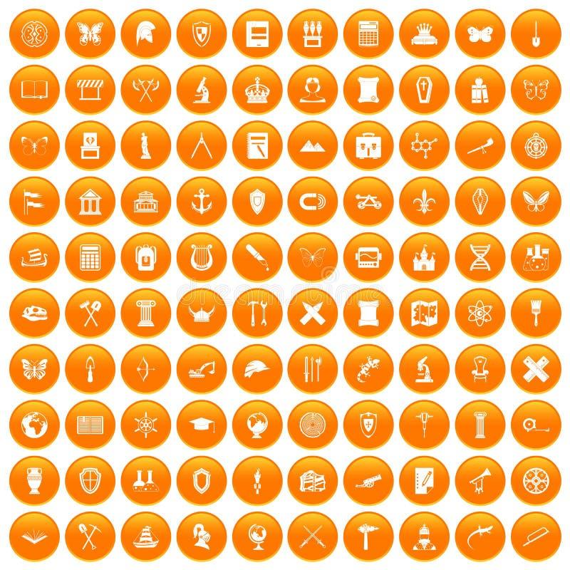 100 iconos de la arqueología fijados anaranjados stock de ilustración