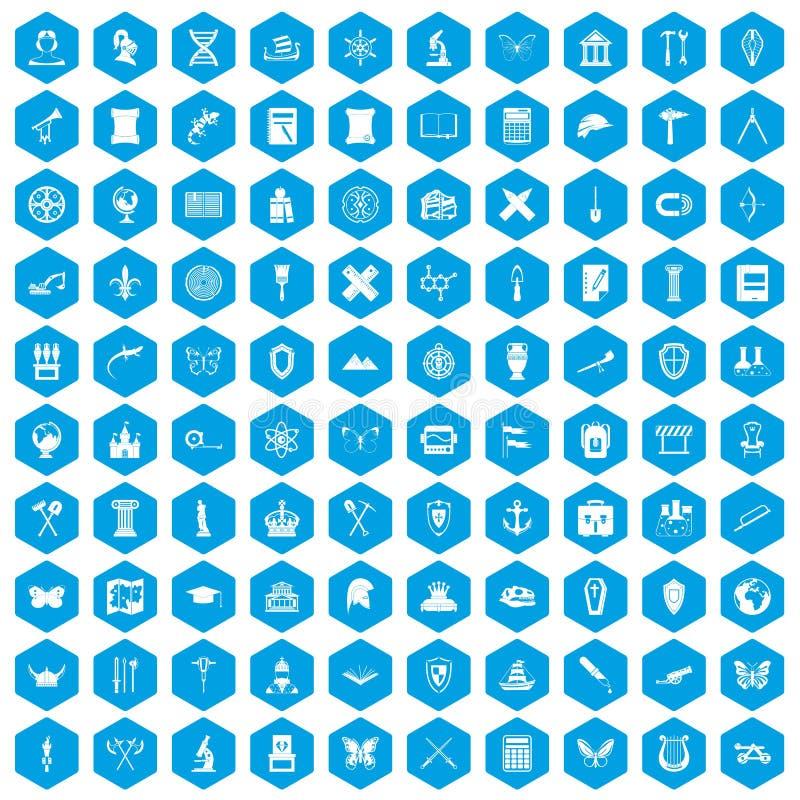 100 iconos de la arqueología fijados azules stock de ilustración