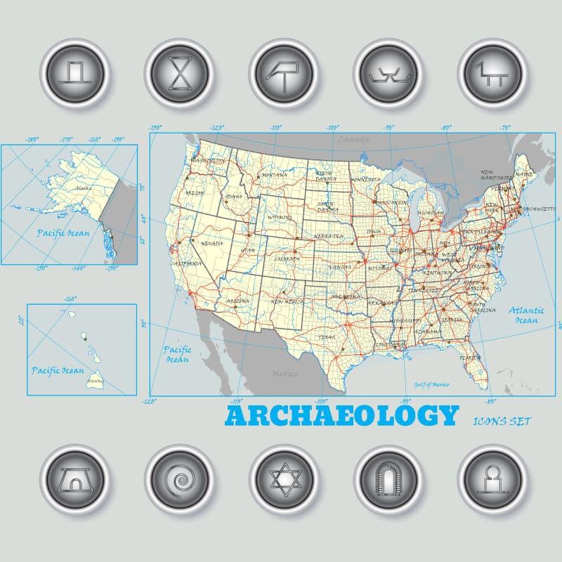 Iconos de la arqueología fijados en la notación científica ilustración del vector