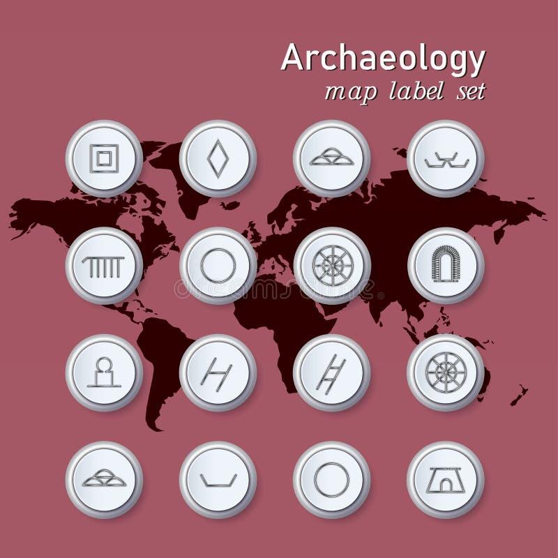 Iconos de la arqueolog?a fijados en la notaci?n cient?fica en fondo del color del mapa del mundo ilustración del vector