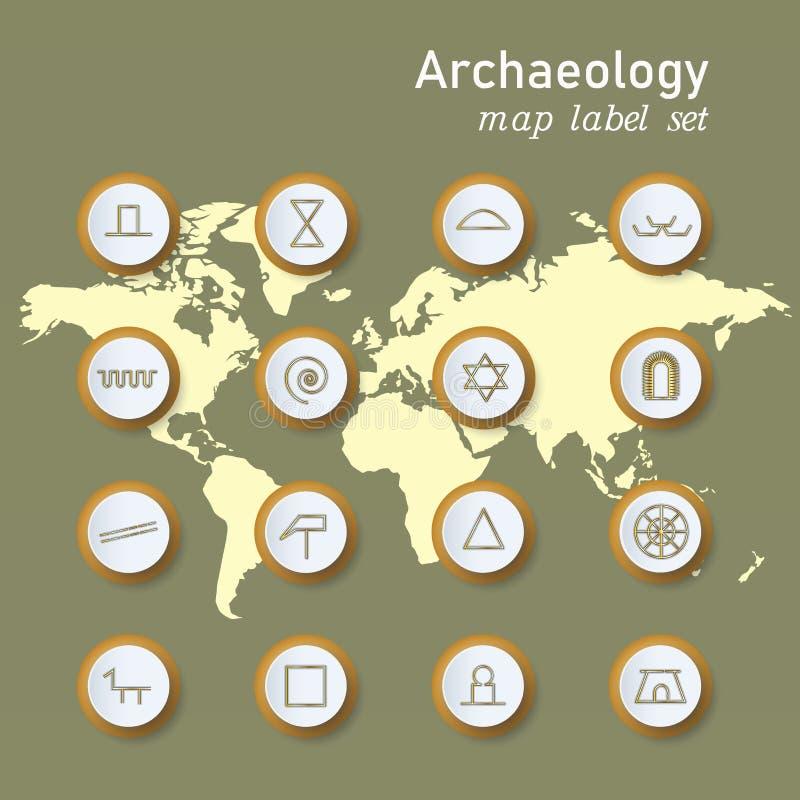 Iconos de la arqueolog?a fijados en la notaci?n cient?fica en fondo del mapa del mundo stock de ilustración