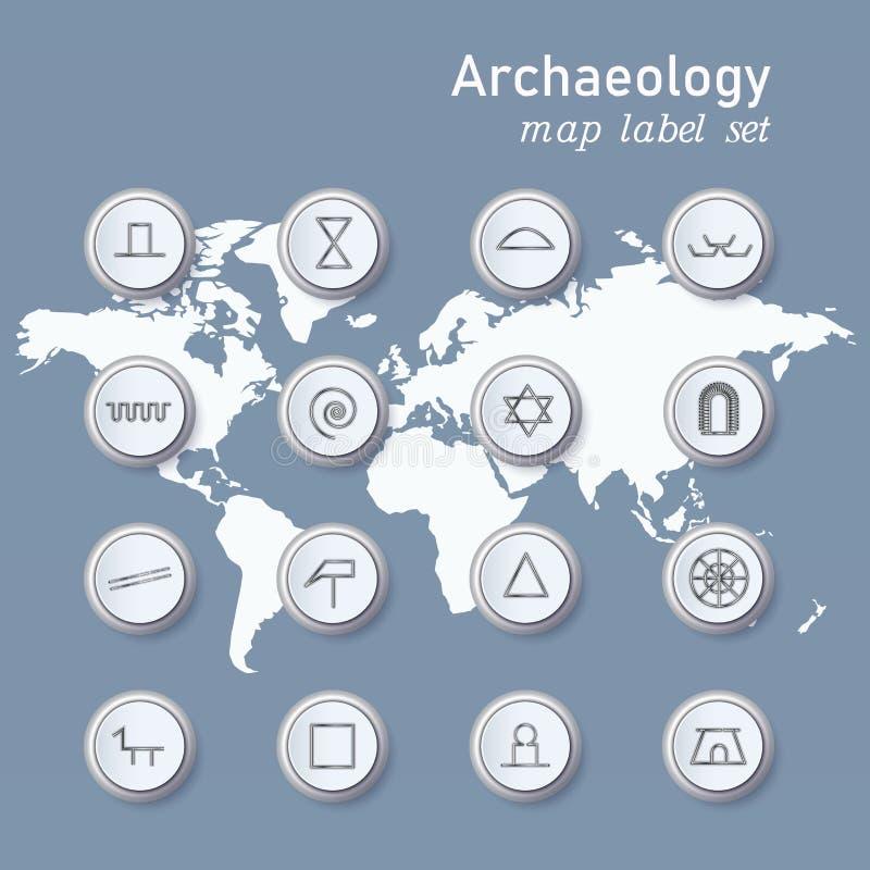 Iconos de la arqueolog?a fijados en la notaci?n cient?fica en fondo de la luz de mapa del mundo libre illustration
