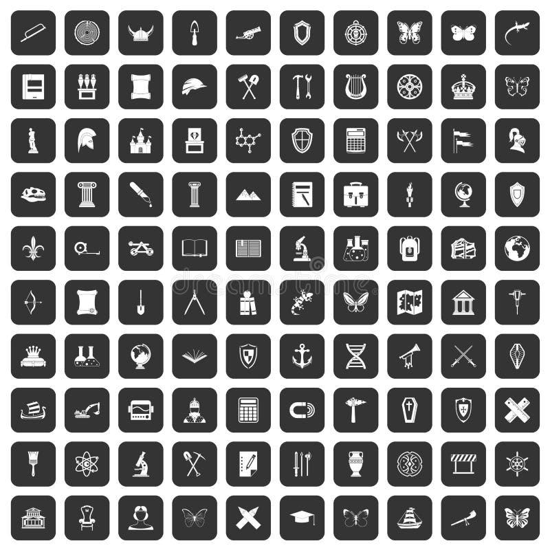 100 iconos de la arqueología fijados negros ilustración del vector