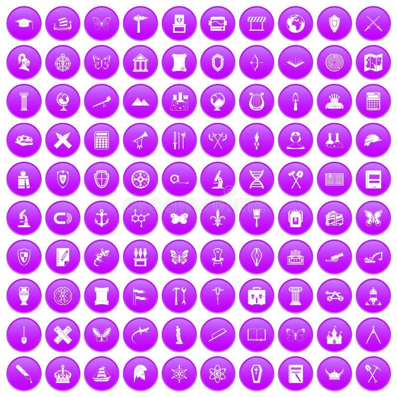 100 iconos de la arqueología fijados púrpuras libre illustration