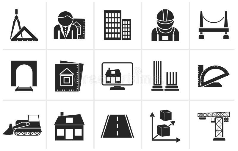 Iconos de la arquitectura y de la construcción de la silueta stock de ilustración