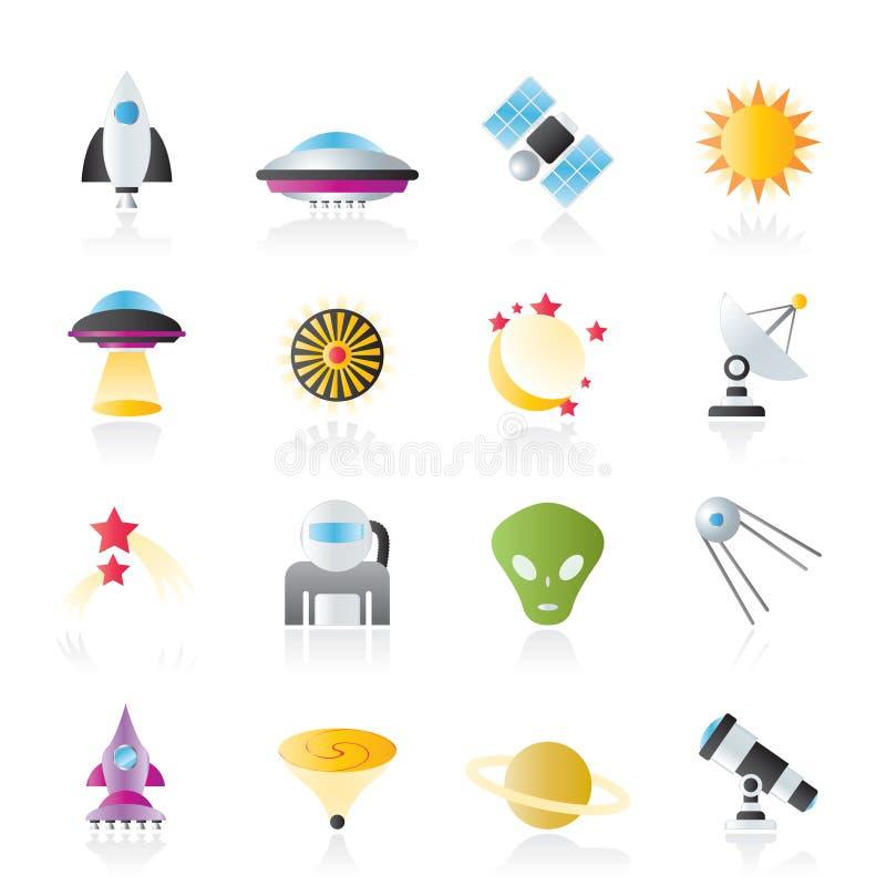 Iconos de la astronáutica, del espacio y del universo ilustración del vector
