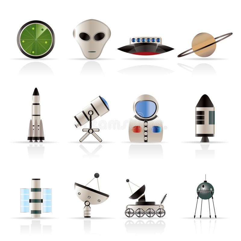 Iconos de la astronáutica y del espacio libre illustration