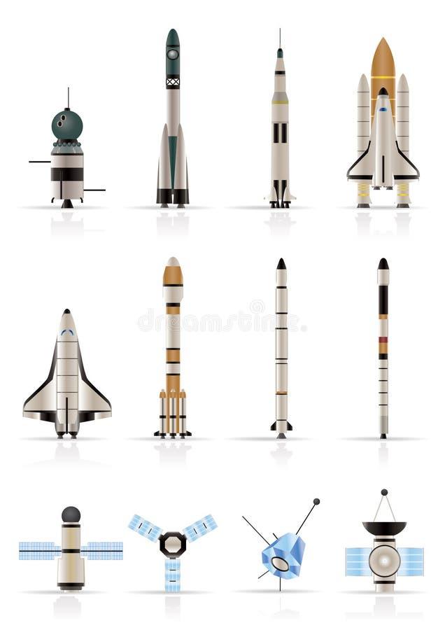Iconos de la astronáutica y del espacio - conjunto del icono del vector stock de ilustración
