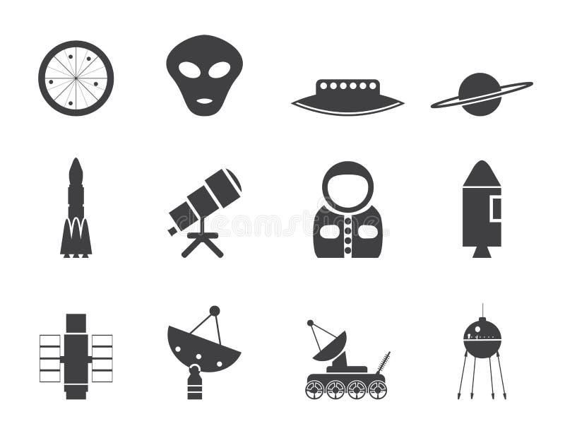 Iconos de la astronáutica y del espacio de la silueta libre illustration